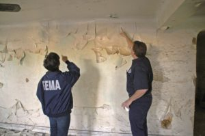 fema inspecting lead paint wall